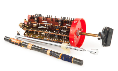 Radio band selector with magnetic antenna Stock Photo