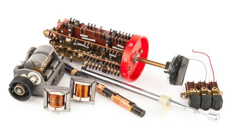 transistor: Detalles de la antigua radio Foto de archivo