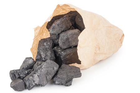 Paper bag with coal Stock Photo