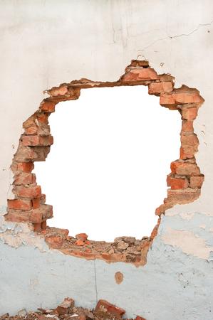 Hole brick wall Stock Photo