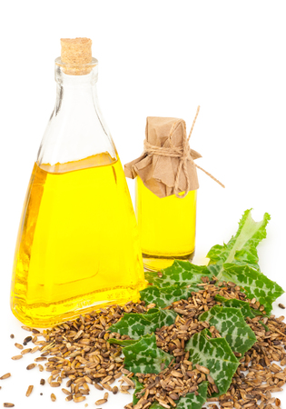 Oil of milk thistle Stock Photo