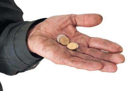 Hand of a beggar with coins Zdjęcie Seryjne