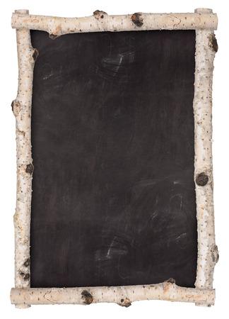 School chalkboard. Frame of birch branches