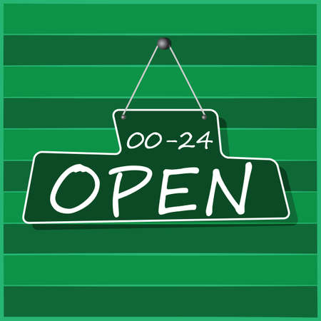 nails: Hanging Open Sign, vector Illustration
