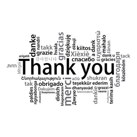 Thank You tag cloud in different languages Illustration