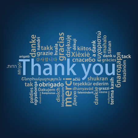 Thank You tag cloud in different languages Stock Illustratie