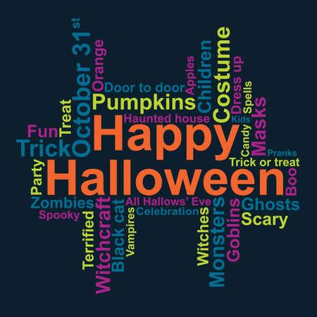 october 31: Happy Halloween word cloud, vector