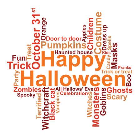 Happy Halloween word cloud, vector