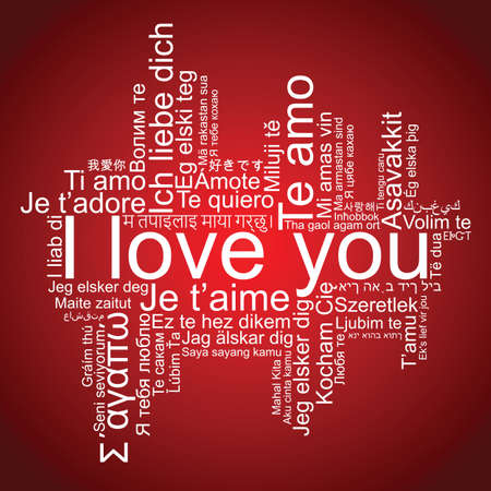 I love you tag cloud, vector Illustration