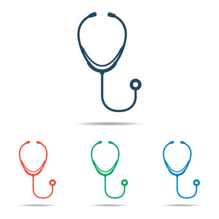 silhouete: Stethoscope icon - simple flat design, vector