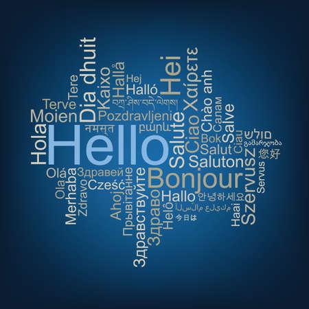 Hallo tagwolk in verschillende talen. Stock Illustratie