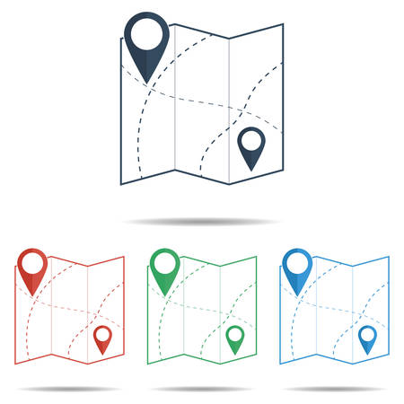 gps device: Map Icon set with pin pointers - simple flat design, vector Illustration