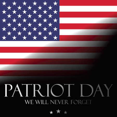 Patriot Day achtergrond - We zullen nooit vergeten, poster sjabloon met Amerikaanse vlag. 11 september, vector Vector Illustratie