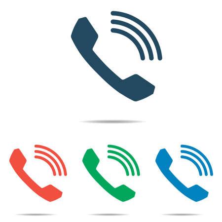 Phone handset icon set - simple flat design isolated on white background, vector Illustration