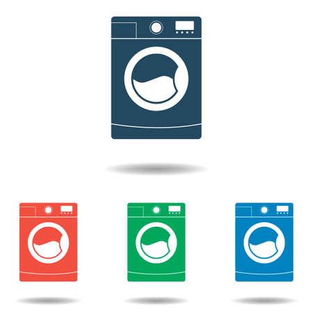 househould: Washing Machine icon set - simple flat design isolated on white background, vector Illustration