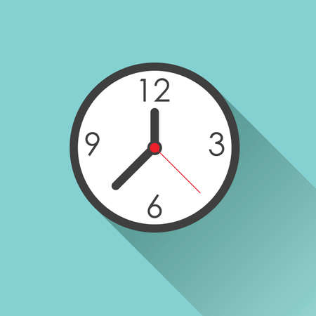 clock: Clock icon - simple flat design with long shadow, vector Illustration