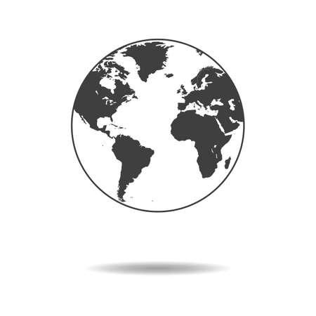 World icon - simple flat design of globe isolated on white background, vector Illustration