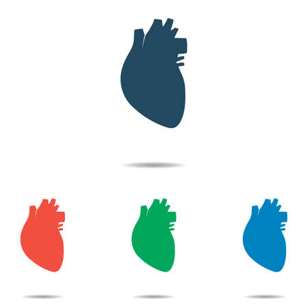 Human heart icon set - simple flat design isolated on white background, vector Illustration