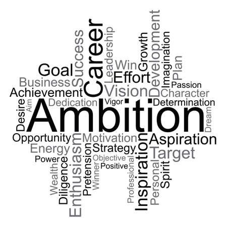Ambition word cloud concept. Illustration