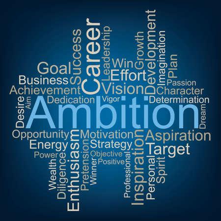 Ambition word cloud concept. Vettoriali