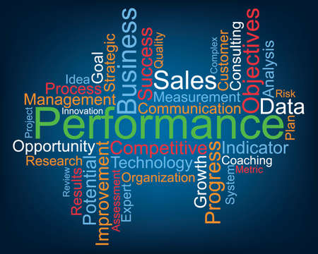 Performance word cloud concept.
