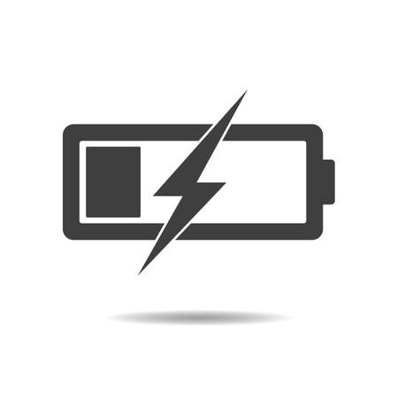 Battery icon - simple flat design isolated on white background, vector Vectores