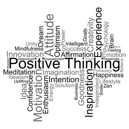 Positive Thinking word cloud, vector