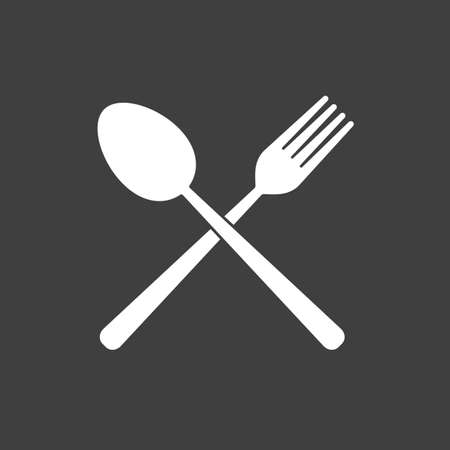 Fork and Spoon icon - simple flat design isolated on grey background, vector