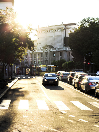 editorial: Editorial photograph of the streets downtown belgrade with amazing sunshine