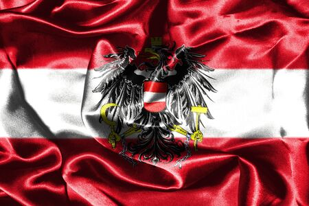 austrian: Austrian Flag Grunge Looking With Coat Of Arms Eagle Emblem Stock Photo