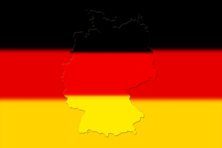 Map of Germany with national flag on background Stock Photo