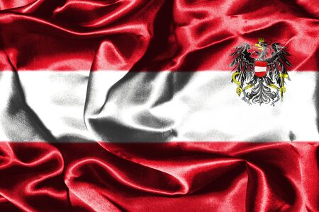 austria flag: Austrian Flag Grunge Looking With Coat Of Arms Eagle Emblem Stock Photo