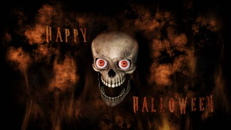 corps: Human Skull With Eyes And Scary, Evil Look Halloween Concept 3D Rendering