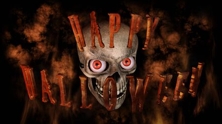 renders: Human Skull With Eyes And Scary, Evil Look Halloween Concept 3D Rendering