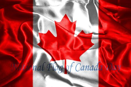 canadian flag: Canadian Flag With Text Happy National Flag Of Canada Day 3D Rendering