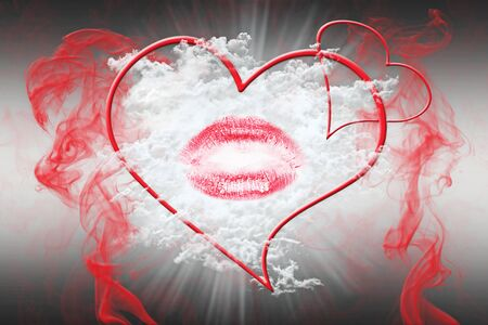 vanish: Heart and a Kiss With Red Smoke. Valentines Day Concept 3D Illustration