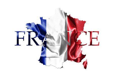 Staatsflagge von Frankreich wellenartig bewegend im Wind mit französischem Karten-und Land-Namen auf lokalisiert auf weißem Hintergrund es Illustration 3D