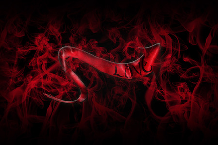 Love Concept. Arrow With Love Written On It Showing The Way On Black Background Full Of Red Smoke 3D illustration Stock Photo