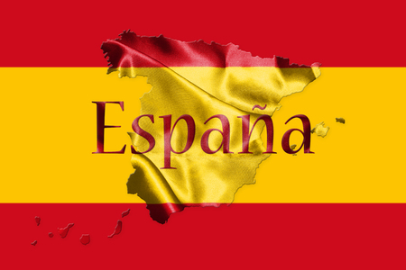 Spanish National Flag and Map With Country Name Written On It 3D illustration Stock Photo