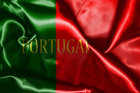 drapeau portugal: Portugal National Flag With Country Name Written On It 3D illustration Banque d'images