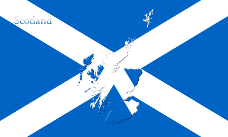 Flag Of Scotland With Country Map On It 3D illustration Stock Photo