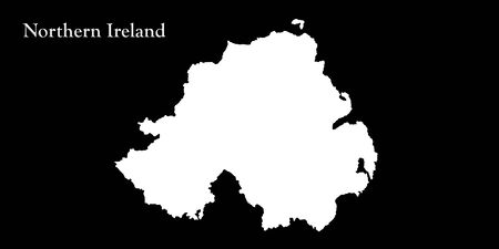 ulster: Northern Ireland White Map Isolated On Black Background 3D illustration Stock Photo