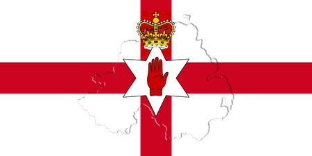 northern ireland: Northern Ireland Ulster Banner. Flag With Map On It 3D illustration