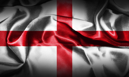 Flag of England Waving In The Wind, Grunge Looking. St Georges Cross 3D illustration