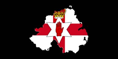 ulster: Northern Ireland Ulster Banner. Map With Flag On It Isolated On Black Background 3D illustration
