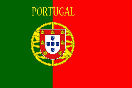 endlessly: Portugal National Flag With Country Name Written On It 3D illustration Stock Photo