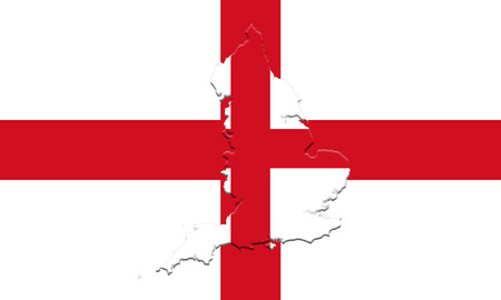 Flag of England With Map On It 3D illustration Stock Photo