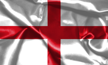Flag of England Waving In The Wind. St Georges Cross 3D illustration