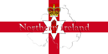 ulster: Northern Ireland Ulster Banner. Map With Flag And Country Name On It 3D illustration Stock Photo