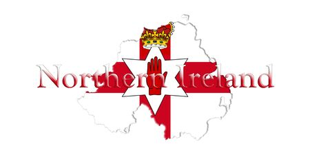 Northern Ireland Ulster Banner. Map With Flag And Country Name On It 3D illustration Stock Photo
